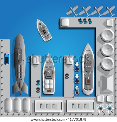 Military seaport. View from above. Vector illustration. - stock vector