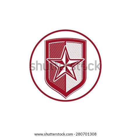 Military shield with pentagonal comet star, protection heraldic sheriff blazon. Army symbol, sheriff badge. - stock vector