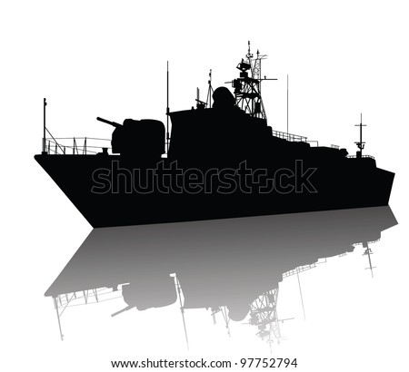 Military ship silhouette with reflection. Vector  - stock vector