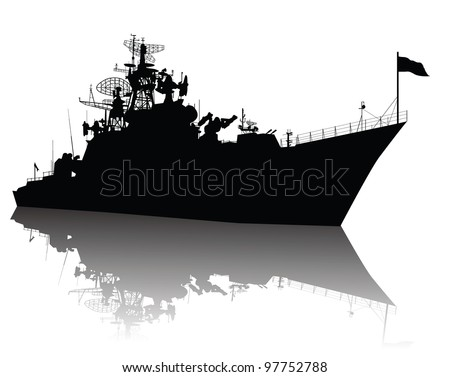 Military ship vector silhouette with reflection. Highly detailed - stock vector