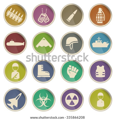 Military simply vector icon set