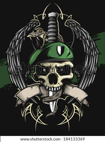Military Skull Stock Vector 184133369 Shutterstock