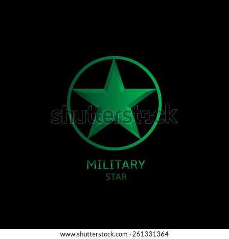 Military star logo on the black background. Vector illustration. - stock vector