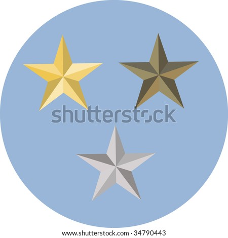 Military stars on blue background - stock vector
