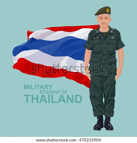 Military student and flag of Thailand, illustration design.