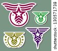 Military style logo set on camo green background - stock vector