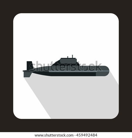 Military submarine icon in flat style with long shadow - stock vector