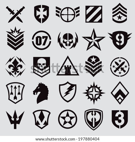 Military symbol icons - stock vector
