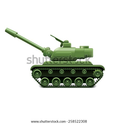 Military tank isolated on white photo-realistic vector illustration - stock vector