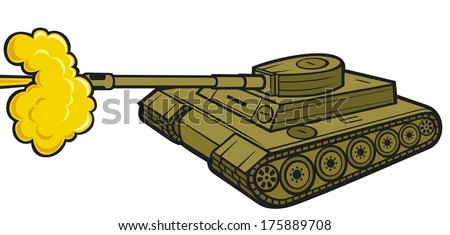 military tank (tank in action, army tank attack) - stock vector