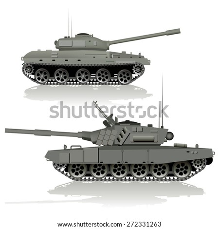 Military tanks isolated on white background. Vector illustration