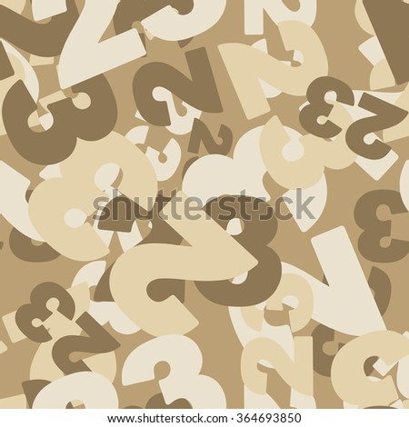 Military texture. 23 February seamless pattern. Camouflage for desert. Ornament for military. Protective pattern of numbers 23.