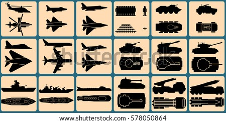 Military Units Silhouettes. Isolated Icons of Armored Vehicles, Military Aircraft, Ship and Soldiers. Kit include Top Down and Side View