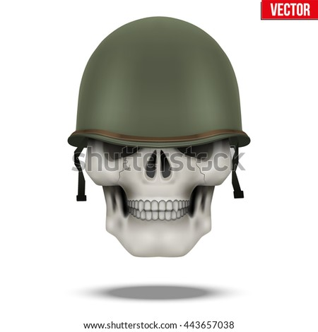 Military US green helmet and skull infantry. Symbol of WWII. Vector illustration Isolated on white background. - stock vector