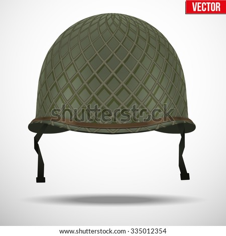 Military US green helmet infantry with net of WWII. Metallic army symbol of defense. Vector illustration Isolated on white background.  - stock vector