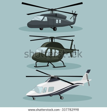 Military Vector Helicopters image design set in different variations for your design, illustration needs. - stock vector