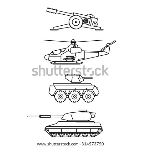 Military vector set. Outline cannon, helicopter, armored troop-carrier and tank design. Weapon icon, pictogram collection. - stock vector