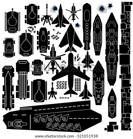 Military Vehicle, Plane and Boats Silhouettes. Top Down Icons for Map and Game Design - stock vector