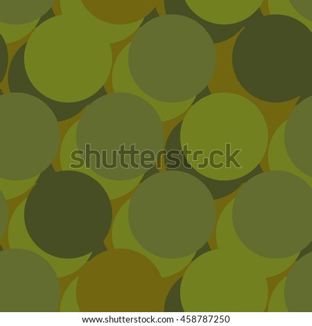 Military war seamless pattern. Army abstract circle, round texture. Protective ornament for soldiers. Green soldiery background. khaki for hunters and troops - stock vector