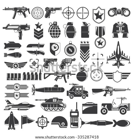 military, weapon and war icons - stock vector