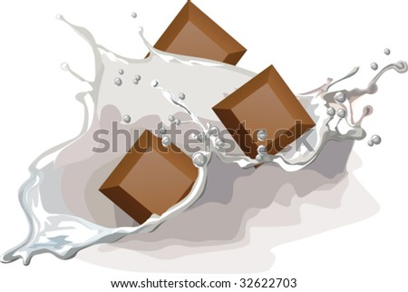 milk and chocolate with splash - stock vector
