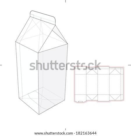 Milk and Juice Box with Die-cut Pattern - stock vector