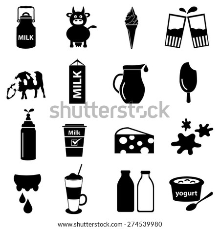 milk and milk product theme icons set eps10 - stock vector