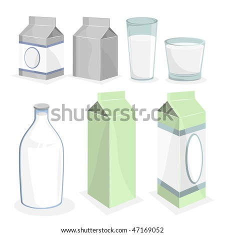 Milk Bottle and Boxes. Vector Illustration.