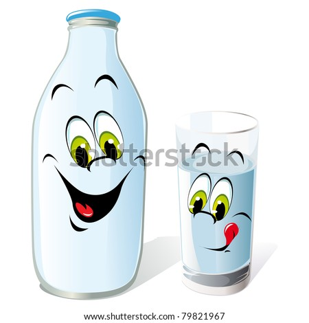 milk bottle and glass cartoon - stock vector