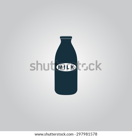 Milk bottle. Flat web icon or sign isolated on grey background. Collection modern trend concept design style vector illustration symbol - stock vector