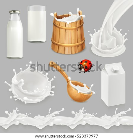 Milk. Bottle, glass, spoon, bucket. Drops seamless pattern. Natural dairy products. 3d vector object set