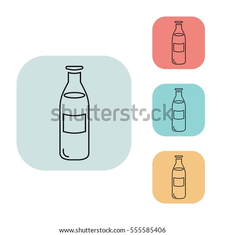 milk bottle icon outline thin line isolated vector sign symbol on white red