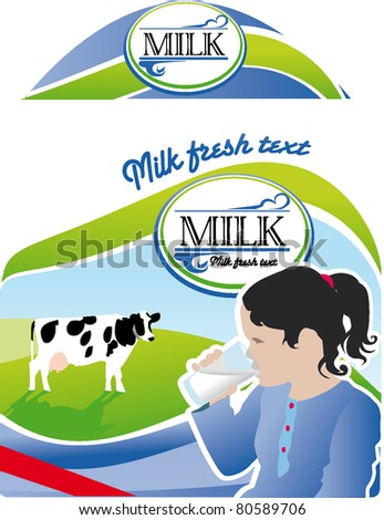 Milk bottle label packaging - stock vector