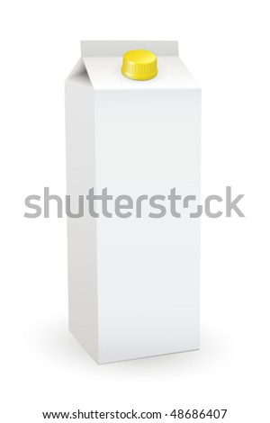Milk box isolated over a white background. Fully editable vector image. - stock vector