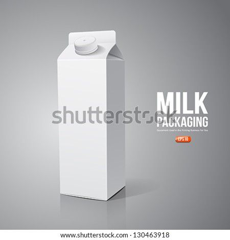 Milk box packaging design, vector illustration - stock vector