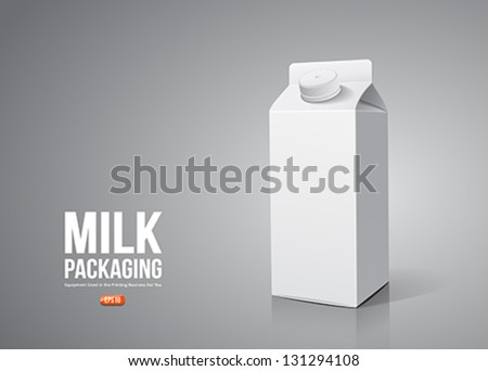 Milk box packaging, vector illustration - stock vector