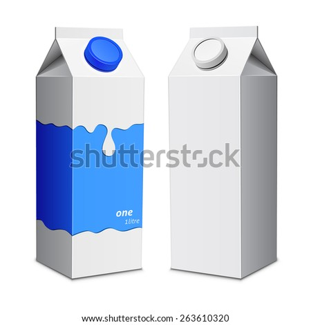Milk box print template. Milk cartons with screw cap. Vector illustration