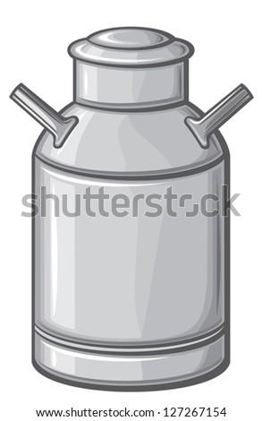 milk can (retro aluminum milk can) - stock vector