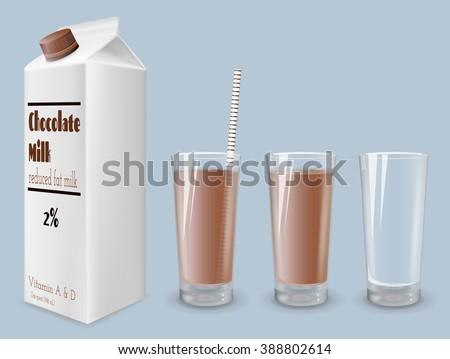 Milk carton and glass of milk. Reduced fat milk. Chocolate milk. - stock vector