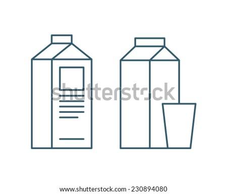 Milk Carton Box Icon Symbol - stock vector
