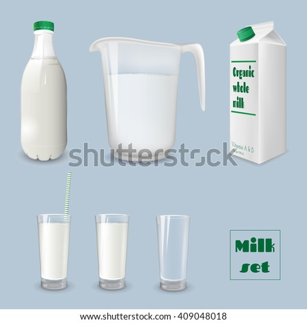 Milk carton with glass. Bottle of milk and jug. Vector illustration. - stock vector