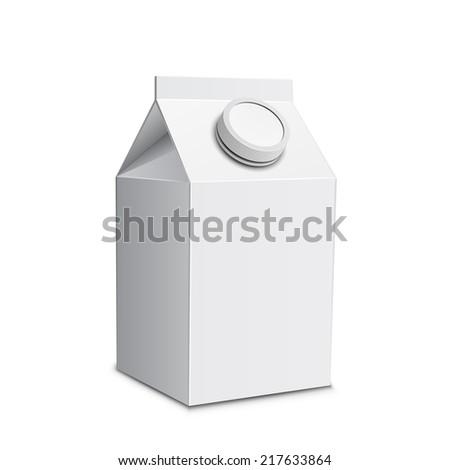 Milk carton with screw cap. Vector illustration of white milk box - stock vector