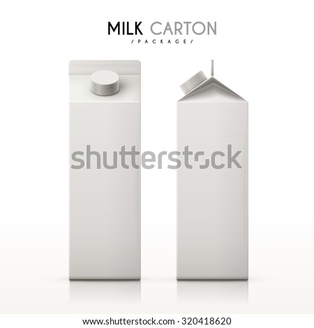 milk cartons set isolated on white background - stock vector