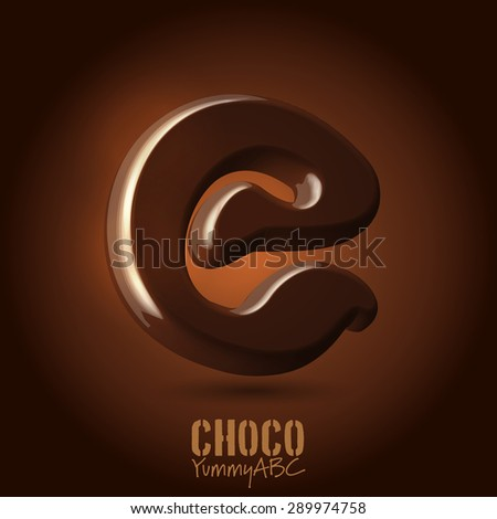 Milk chocolate retro curved glossy vector dark 3d typeset - capital E