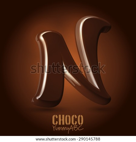 Milk chocolate retro curved glossy vector dark 3d typeset - capital N - stock vector