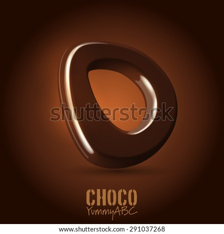 Milk chocolate retro curved glossy vector dark 3d typeset - capital O