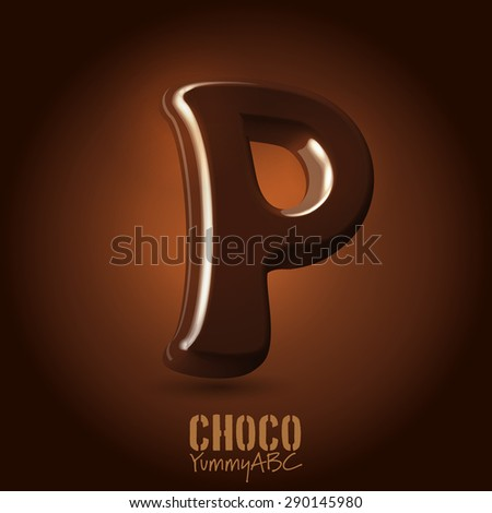 Milk chocolate retro curved glossy vector dark 3d typeset - capital P - stock vector