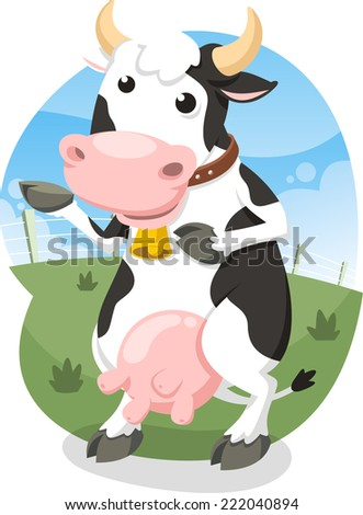 Milk Cow Standing Happy with Bell Collar Vector Illustration Cartoon. - stock vector