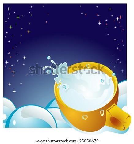 Milk cup. Elements for design. Vector illustration - stock vector