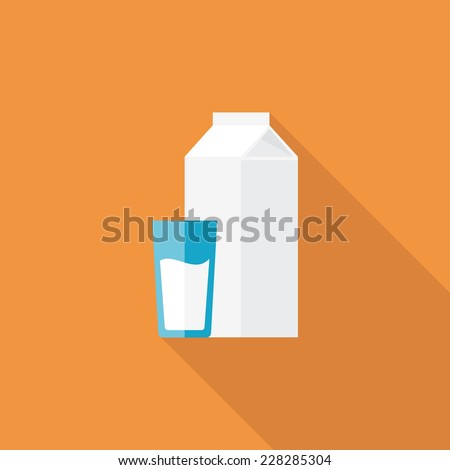 Milk flat icon. Modern flat icons with long shadow effect in stylish colors. Icons for Web and Mobile Application. EPS 10. - stock vector